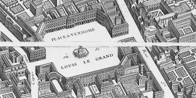 1739 Turgot Map of Paris, detail