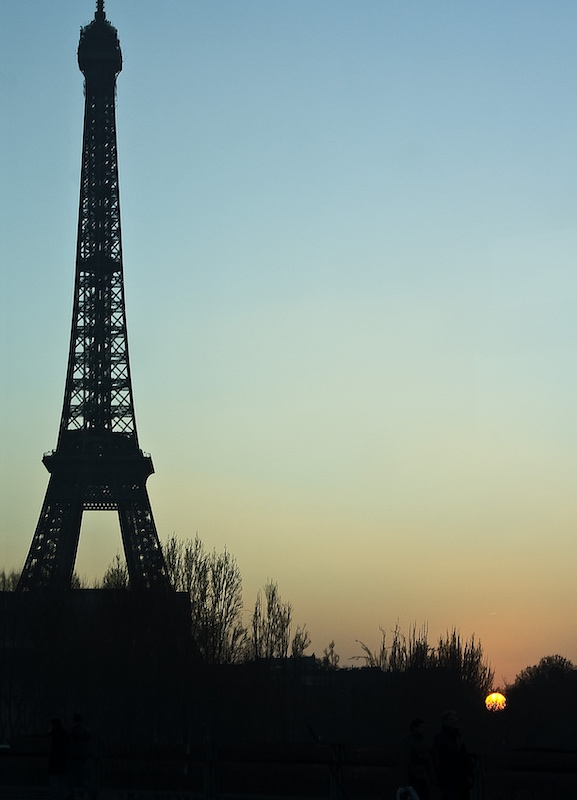 Eiffel Tower with Setting Sun, 2017