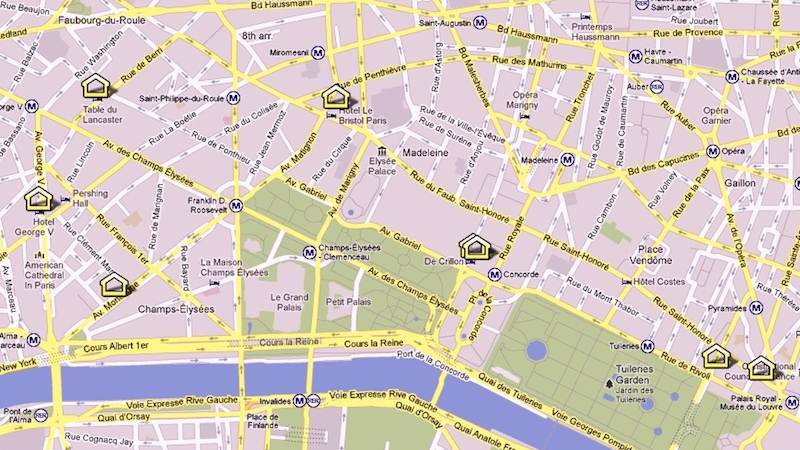 Map of 5 Star Hotels Paris