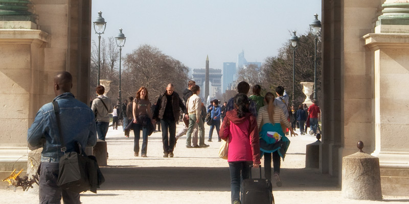 Arc de Triomphe, as seen in the distance, photo by Mark Craft