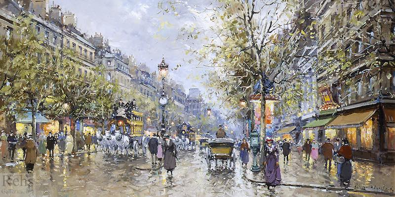 Boulevard Haussmann in the 19th century, by Antoine Blanchard