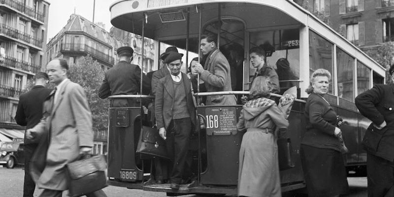Rear platform bus in Paris, 1950