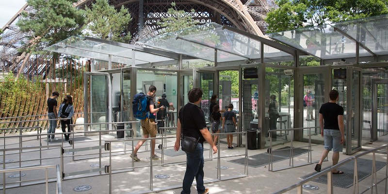 Security gate at the Eiffel Tower