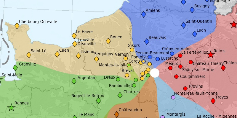 The area of France (in yellow) served by Gare Saint-Lazare