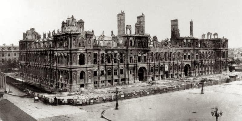 Hotel de Ville Paris after the Paris Commune, by Marville