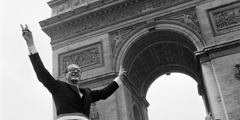 Jacques Chirac celebrates 1977 win