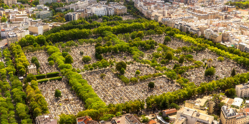 Montmartre Cemetery from Tour Montparnasse, photo by Mark Craft