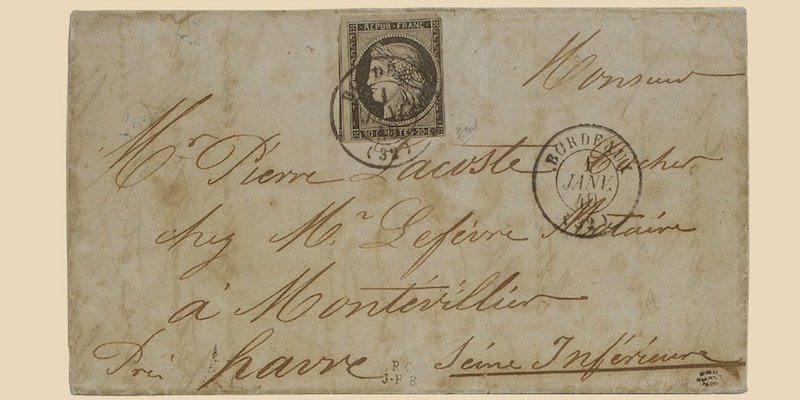 First French Letter with a Stamp