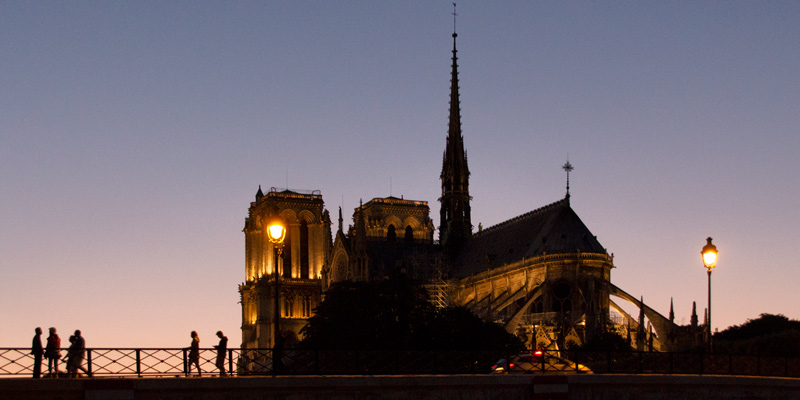 Notre Dame at night, photo by Mark Craft