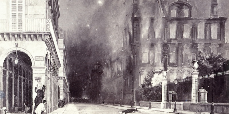 Palais des Tuileries ablaze, along Rue de Rivoli