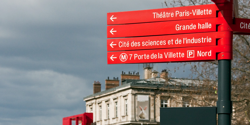 Villette direction signs, photo by Mark Craft