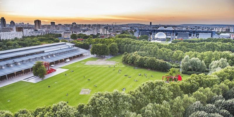 Drone view of Parc de la Villette