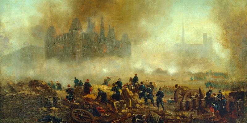 Communards & Versaillais battling while the Hotel de Ville burns