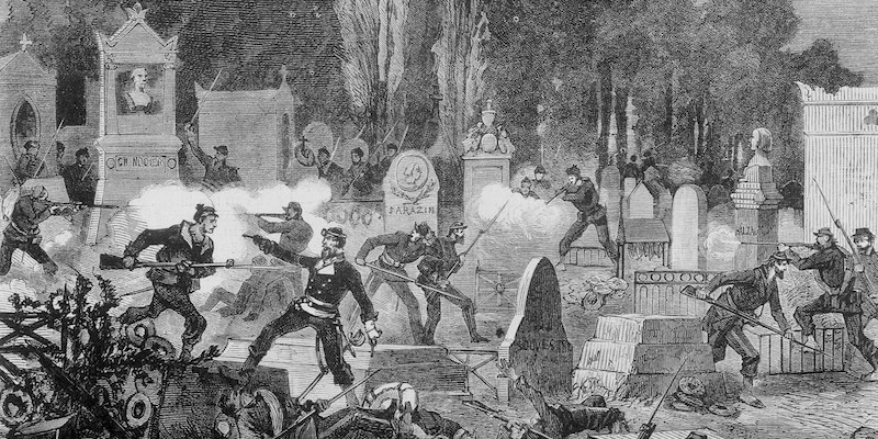 A battle at Père Lachaise Cemetery in May 1871
