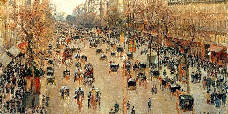 Horse-drawn fiacres on Boulevard Montmartre, painted by Pissarro in 1897