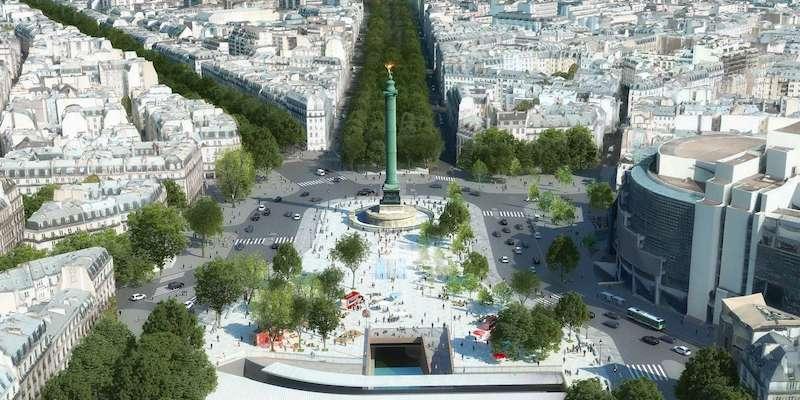 Place de la Bastille after a 21st-century renovation