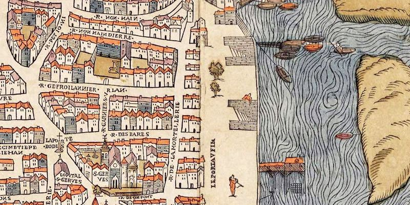 Rue des Barres map from 1550