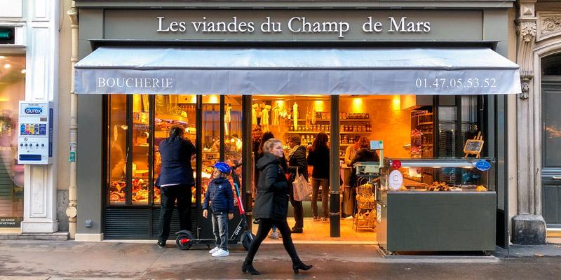Rue St-Dominique boucherie, photo by Mark Craft
