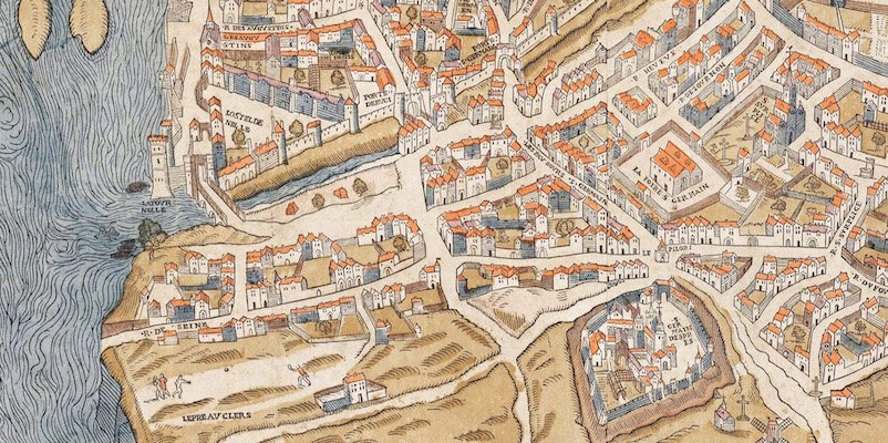Detail from a map of Paris from 1550