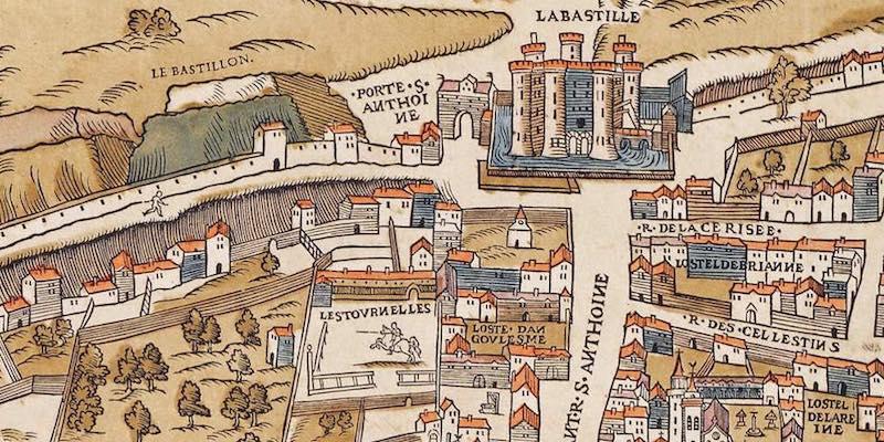 Paris 1550, showing Bastilles & Tournelles
