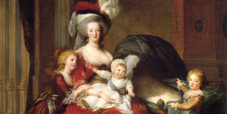 Marie Antoinette, dress by Rose Bertin, painted by Le Brun