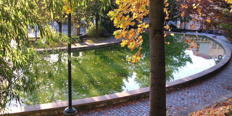 Parc de Belleville Pond, photo by Romary